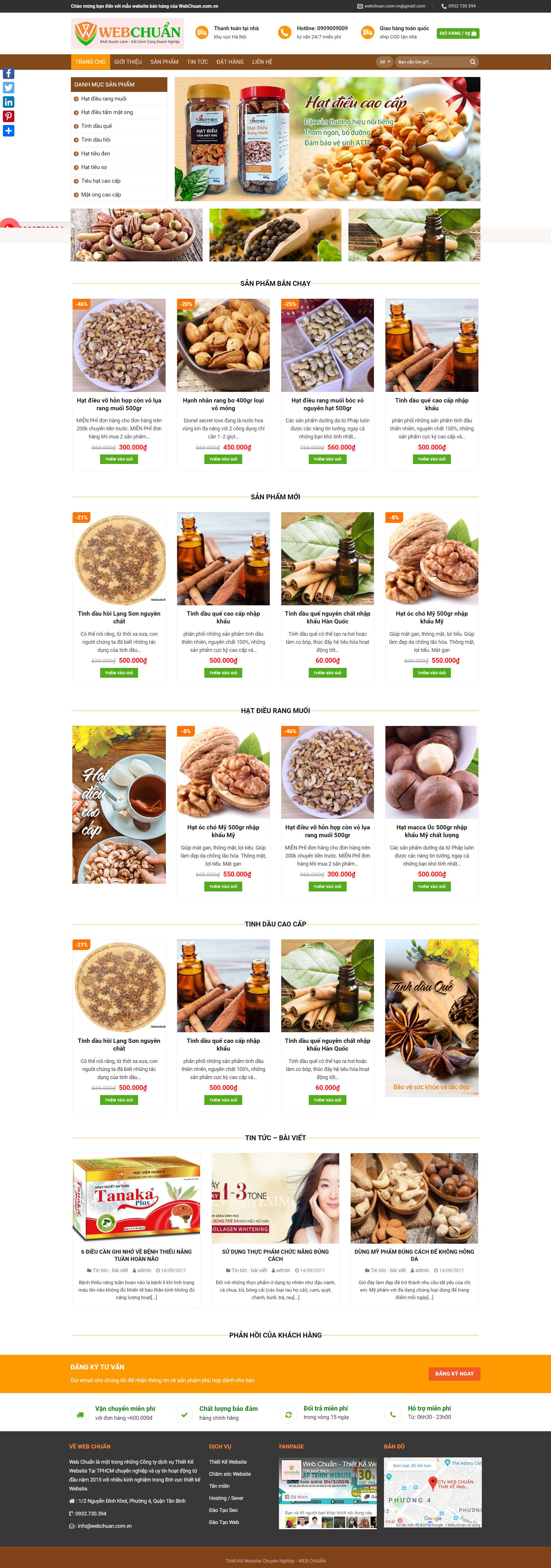 Mẫu website shop bán hạt điều