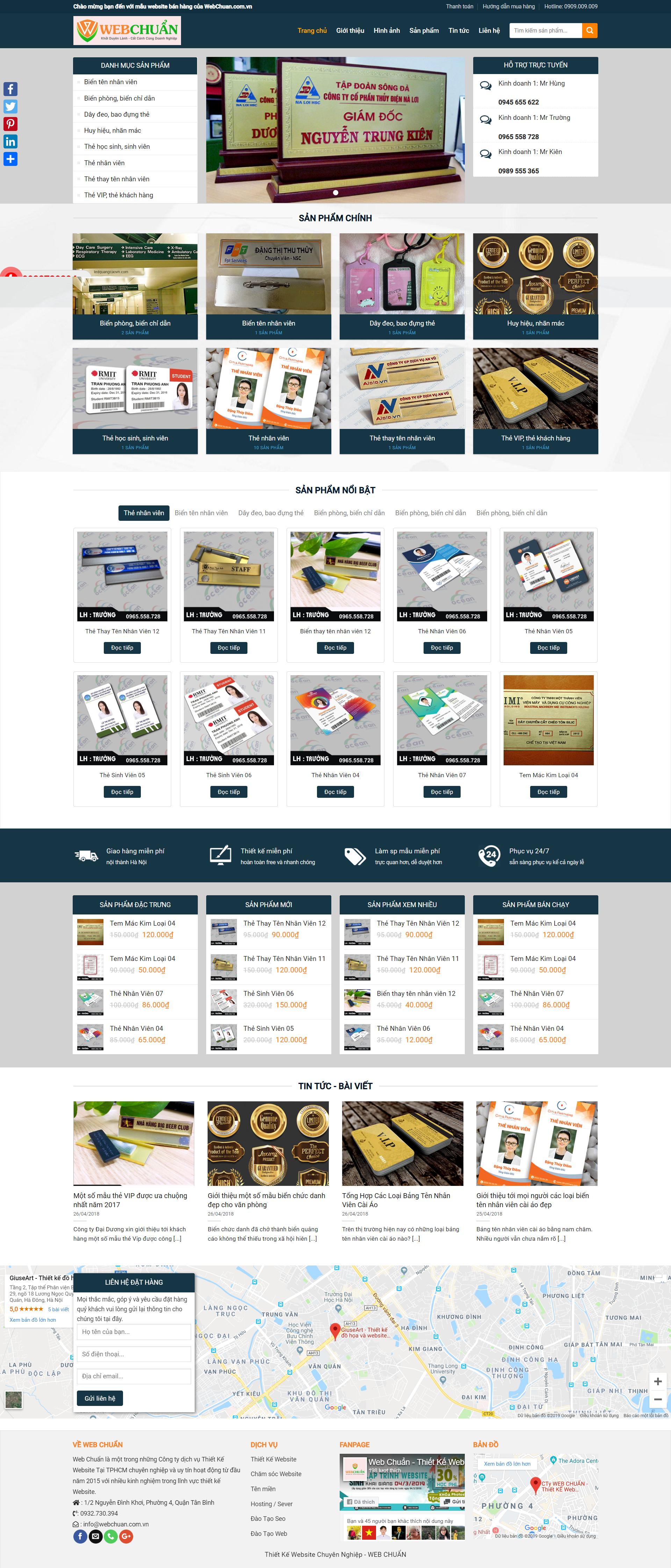 Mẫu Web Shop Bán Biển Tên