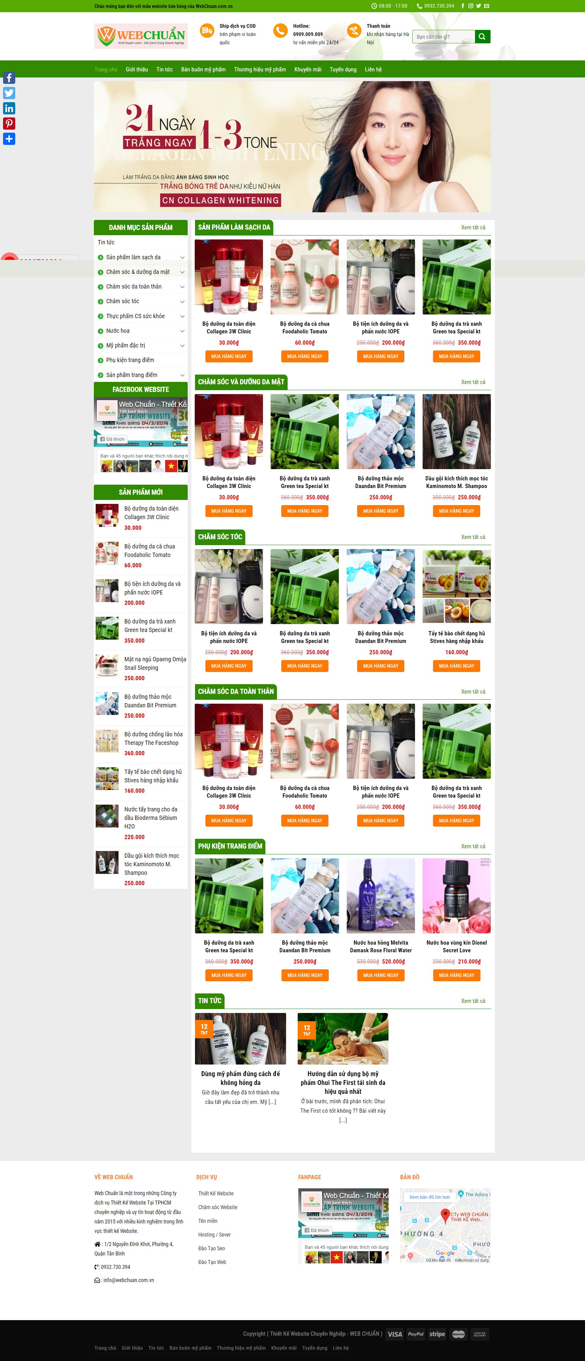 Mẫu Web Shop Bán Mỹ Phẩm