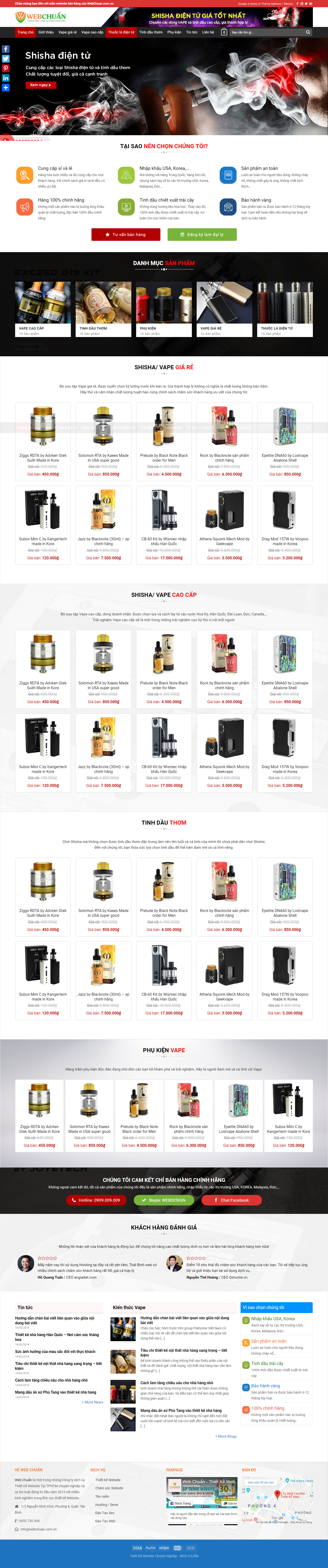 Mẫu web shop vape